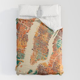 New York Mosaic Map #2 Comforters