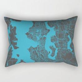 Seattle map blue Rectangular Pillow