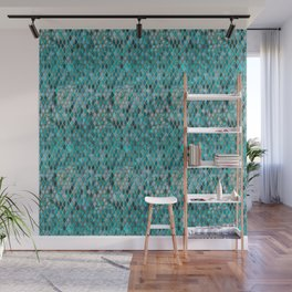 Malachite Turquoise Sparkle Faux Gold Rhomb Pattern Wall Mural