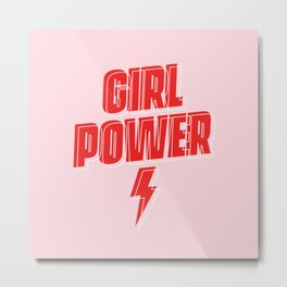 GRL PWR - Girl Power 9 (in Red) Metal Print