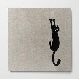 Black Cat Hanging On Metal Print