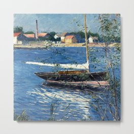 "Gustave Caillebotte ""Boat at anchor on the Seine at Argenteuil"" Metal Print"