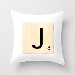 Scrabble J Throw Pillow