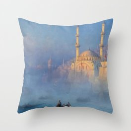 Constantinople (Istanbul) Süleymaniye Mosque in Fog by Ivan Aivazovsky Throw Pillow