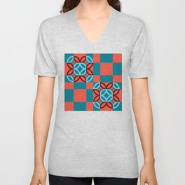 Checkered Circles Red and Blue Pattern Unisex V-Neck