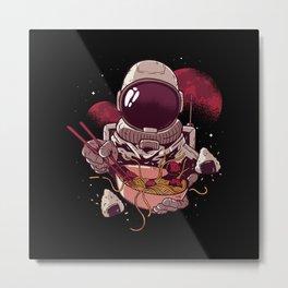 Astronaut eating Ramen Noodle Soup in Space Metal Print