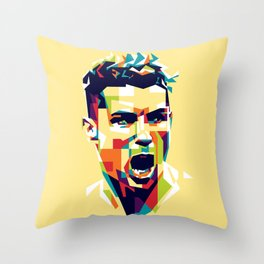 colorful illustration of ronaldo Throw Pillow