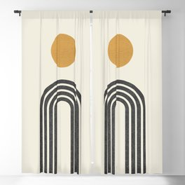 Mid century modern gold Blackout Curtain
