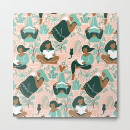 Women Readers - Pattern Metal Print