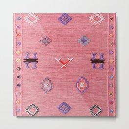 Pink Oriental Traditional Boho Moroccan Style Design Artwork Metal Print