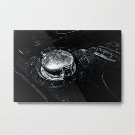 Gas Tank Locking Cap Black White Metal Print
