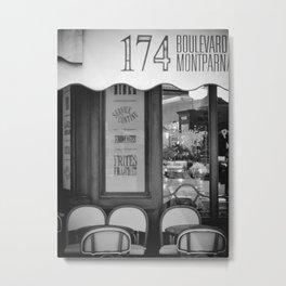 Paris Cafe Montparnasse Black And White Metal Print