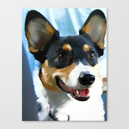 Tri Color Welsh Pembroke Corgi Canvas Print