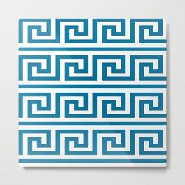Mosaic Blue Greek Key Pattern Metal Print
