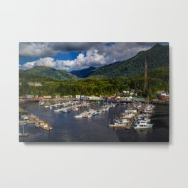 Alaska Ketchikan mountain Forests Pier Yacht Motorboat Cities Building Mountains forest Berth Marinas speedboat powerboat Houses Metal Print