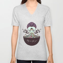 Rainbow Ramen Noodles Anime Monster Girl Unisex V-Neck