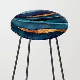 Abstract Blue with Gold Counter Stool