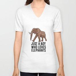 Just a Boy Who Loves Elephants Unisex V-Neck