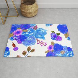 Watercolor Bouquet Floral in White + Blue Rug