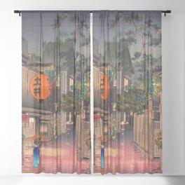 Tsuchiya Koitsu - Evening at Ushigome - Japanese Vintage Woodblock Painting Sheer Curtain