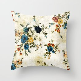 Cream Blue Yellow Floral Throw Pillow