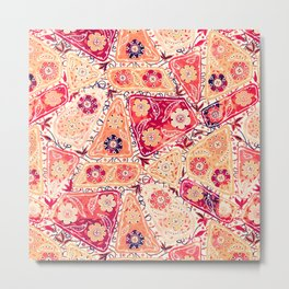 Vintage Patchwork Flower Garden, Red and Cream Floral Sewing Thread Quilt Repeat Pattern Metal Print