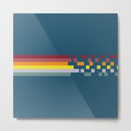 Classic 70s Retro Rainbow Racing Stripes Pixel Drops - Aichiyo Metal Print
