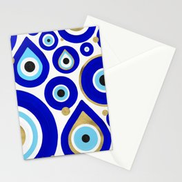 Evil Eye Charms on White Stationery Cards