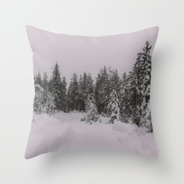 Trees covered by snow Throw Pillow