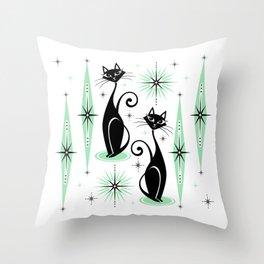 Mid Century Meow Retro Atomic Cats - w/ Mint on White Throw Pillow