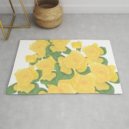 Yellow Rose Bouquet Digital Drawing Rug