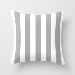 Silver chalice grey - solid color - white vertical lines pattern Throw Pillow