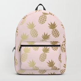 Pink & Gold Pineapples Pattern Backpack