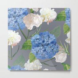 Blue Hydrangea on Gray Metal Print