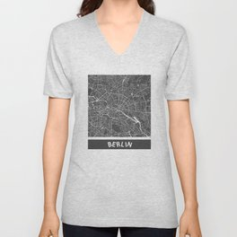 Berlin Map blue Unisex V-Neck
