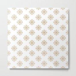 Snowflakes (Tan & White Pattern) Metal Print