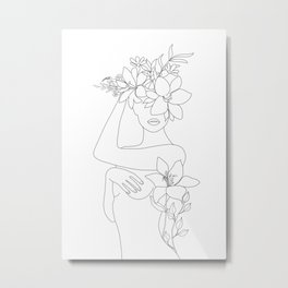 Minimal Line Art Woman with Flowers VI Metal Print