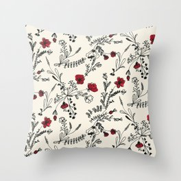 Red Flower Pattern Throw Pillow