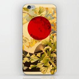 Japanese Ginkgo Hand Fan Vintage Illustration iPhone Skin