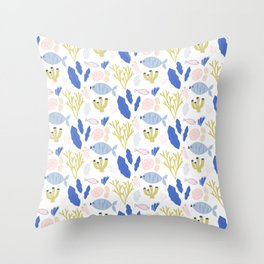 Sea pattern with fish, seaweeds and coral Throw Pillow