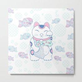 Manekinako and Tayaki Pattern / Estampado de Manekineko y Tayaki Metal Print