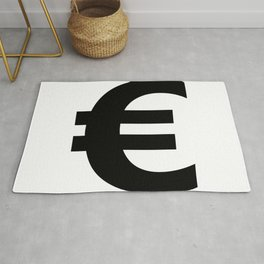 Euro Sign (Black & White) Rug