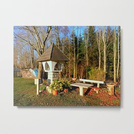 Wayside shrine and a bench | architectural photography Metal Print