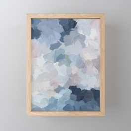 Navy Indigo Gray Blue Blush Pink Lavender Abstract Floral Spring Wall Art Framed Mini Art Print