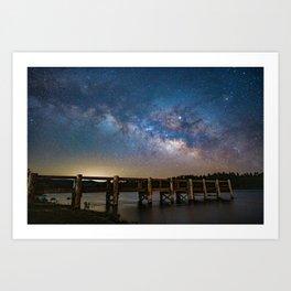 Milk Way over Lake Cuyamaca, CA Art Print