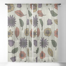 Fall Floral Pattern (OATMEAL) Sheer Curtain