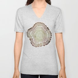 Tree Rings – Watercolor Ombre Unisex V-Neck