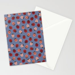 All over Modern Ladybug on Plum Background Stationery Cards