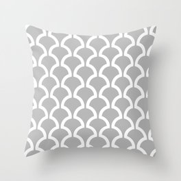 Classic Fan or Scallop Pattern 452 Gray Throw Pillow
