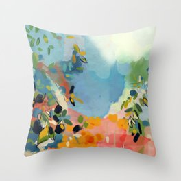 garden with sea view and olive tree Throw Pillow